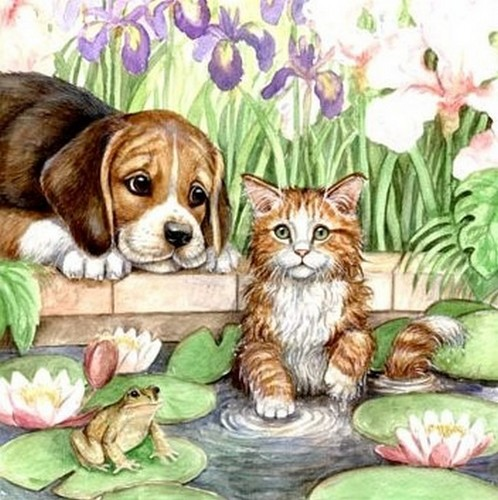 Cats Images Cat And Dog Art Wallpaper And Background