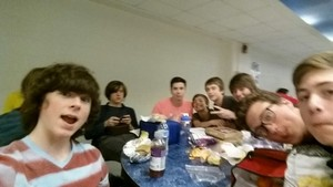 Chandler with his friends at lunch