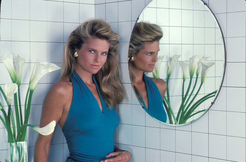 Christie Brinkley wallpaper possibly with a bathroom, a washroom, and tights entitled Charles W Bush photoshoot 1981