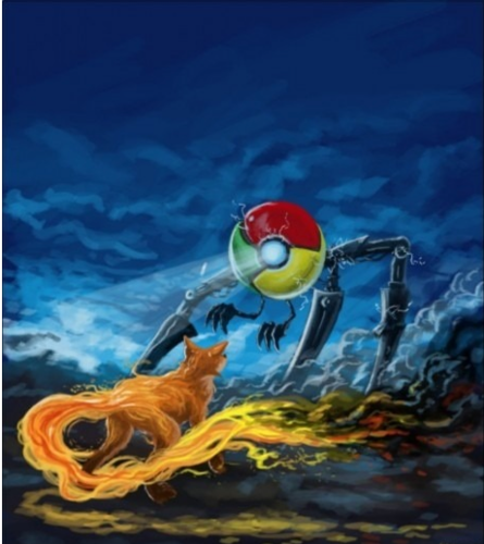 Google Chrome wallpaper probably containing a water titled Chrome vs Firefox