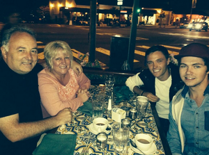 Damian out to dinner with his mate Declan and Deco's parents