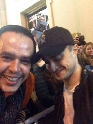Daniel Radcliffe with a fan , At Cort Theatre (Fb.com/DanieljacobRadcliffeFanClub)