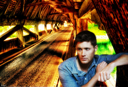 Supernatural wallpaper probably with a lumbermill, a street, and a thatch titled Dean Winchester
