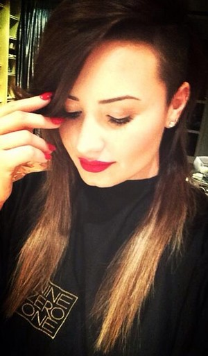 Demi Dyes Her Hair Back to Brown (2014)