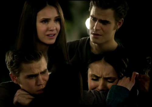 Stelena vs Delena پیپر وال possibly containing a portrait called Elena and Stefan