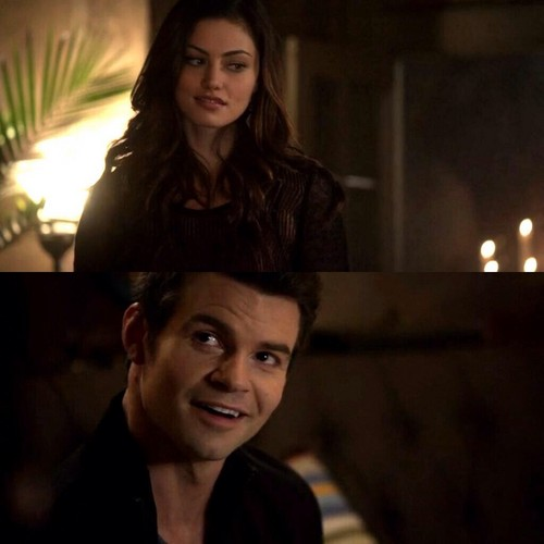 Elijah & Hayley پیپر وال possibly containing an outerwear, a well dressed person, and a portrait titled Elijah Mikaelson and Hayley Marshall