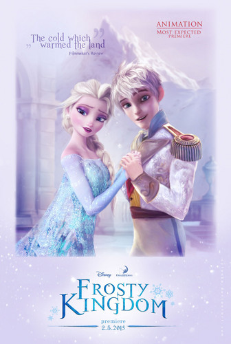 《冰雪奇缘》 壁纸 containing a portrait entitled Elsa and Jack Frost in Frosty Kingdom