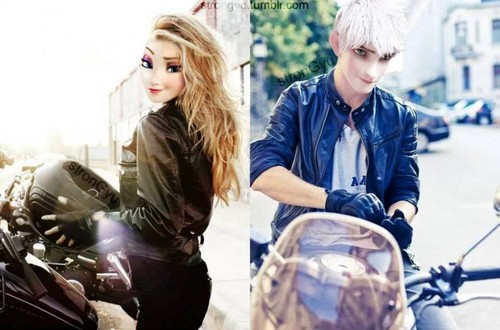 Elsa & Jack Frost karatasi la kupamba ukuta probably with a motorcycle cop called Elsa and Jack frost crossover