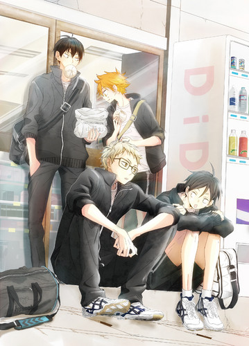 Haikyuu!!(High Kyuu!!) wallpaper containing a business suit titled Hinata, Kageyama, Tsukishima, and Tadashi