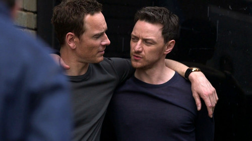 James McAvoy and Michael Fassbender 壁紙 possibly containing a business suit titled James and Michael ☆