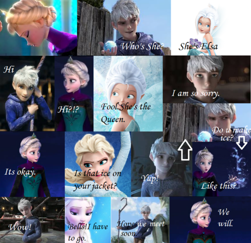 Elsa & Jack Frost wallpaper probably with a sign entitled Jelsa comic no.1