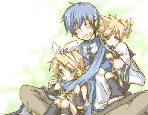 Vocaloid Обои containing Аниме called Kaito and kagamine Len and Rin