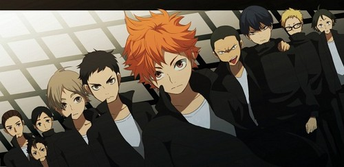 Haikyuu!!(High Kyuu!!) 壁纸 possibly containing a business suit and 日本动漫 titled Karasuno 排球 Team