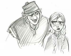 Kristoff and Anna sketches
