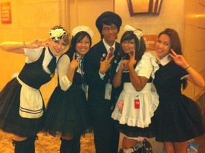 LGC member Odie and the anime Cafe Maids