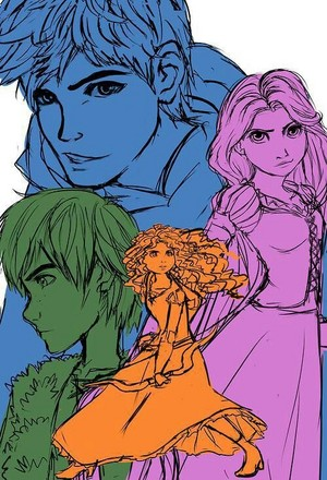 Merida HIccup Jack and Rapunzel