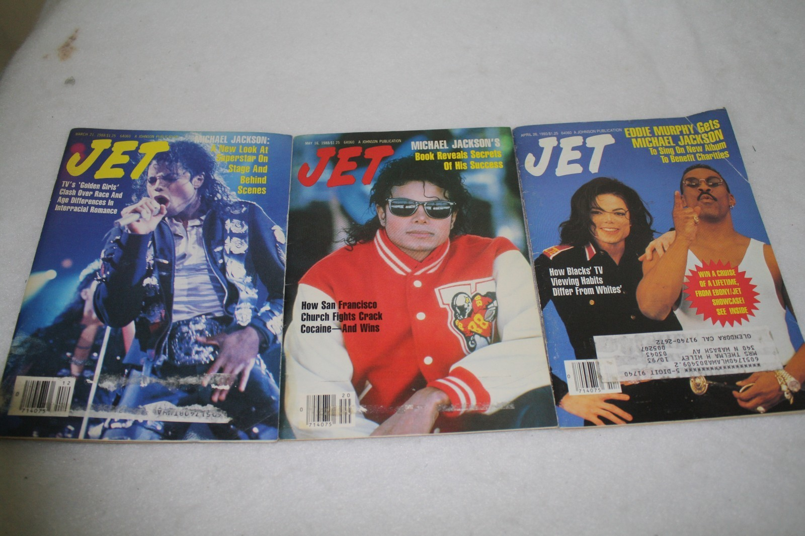 Michael On The Cover Of All Three Issues Of JET Magazine