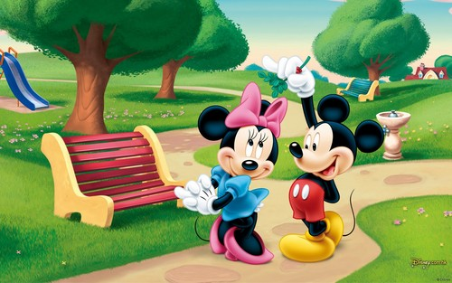 Disney wallpaper possibly with a park bench called Mickey and Minnie