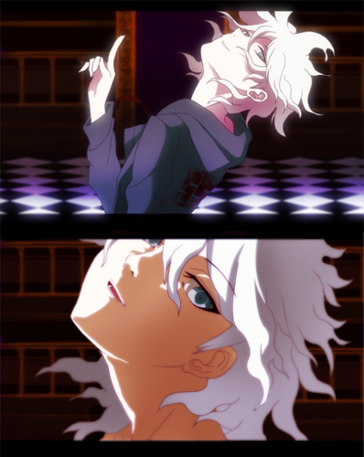 Dangan Ronpa kertas dinding probably with a sign titled Nagito Komaeda