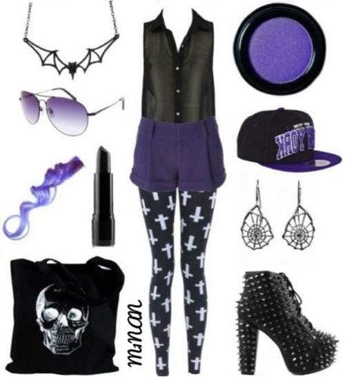 pastel images purple and black pastel goth outfit