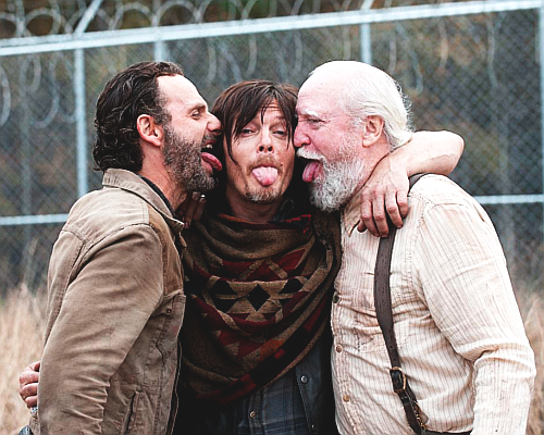 द वॉकिंग डेड वॉलपेपर containing a chainlink fence titled Rick, Daryl and Hershel
