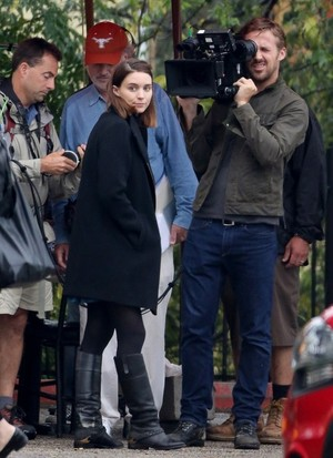 Rooney Mara and Ryan ansarino, gosling on the set of Untitled Terrence Malick Project
