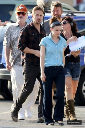 Rooney Mara and Ryan papera, gosling on the set of Untitled Terrence Malick Project
