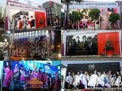 S.M.Entertainment wallpaper possibly with anime titled SM Entertainment Building Billboard featuring SM artists