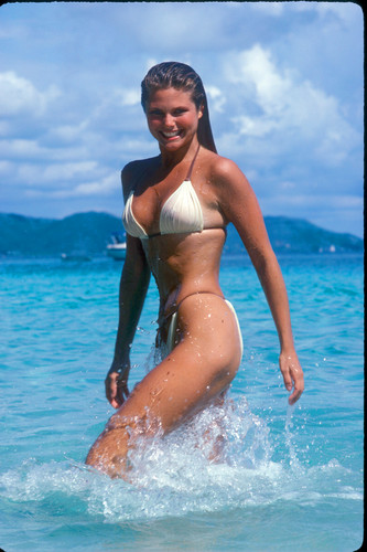 Christie Brinkley Hintergrund possibly containing a bikini called Sports Illustrated 1980 photoshoot
