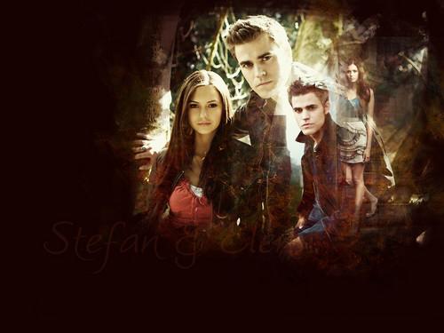 Stelena vs Delena پیپر وال titled Stefan and Elena forever