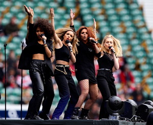 The girls performing at the Twickenham Stadium today