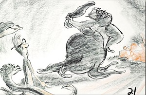 Walt डिज़्नी Sketches - Jetsam, Harold the Merman, Flotsam & Ursula