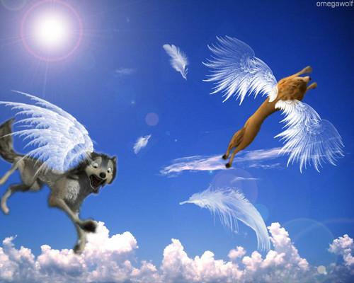 Alpha and Omega karatasi la kupamba ukuta entitled Mbwa mwitu loups in the sky!