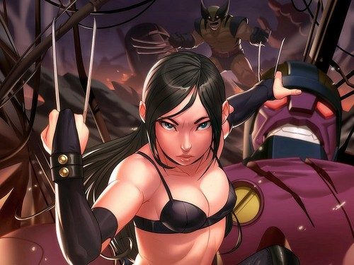 X-Men wallpaper probably containing a brassiere, a lingerie, and attractiveness entitled X-23 / Laura Kinney Wallpaper