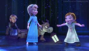Young Elsa, Anna, Kristoff and Sven