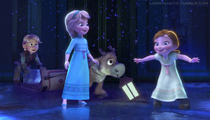 Young Kristoff and Sven with young Anna and Elsa