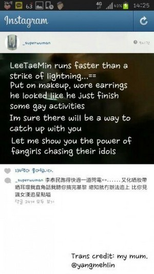 Messages from one of the girls chasing Taemin # Rude, Crazy