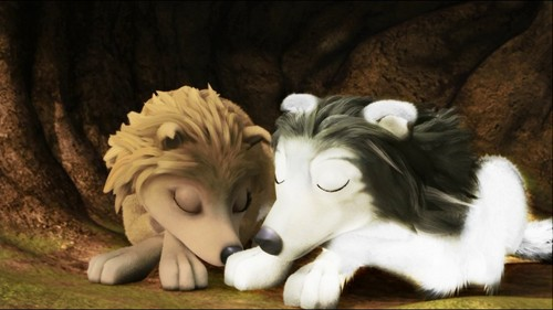 Alpha and Omega 2: a howl-iday adventure Hintergrund entitled kate and a wolf sleeping