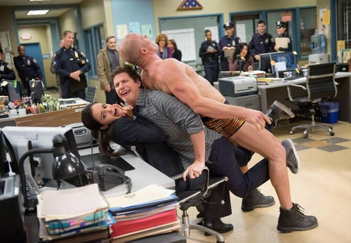 Brooklyn Nine-Nine 壁纸 possibly containing a sign and a 餐车, 晚餐, 小餐馆 entitled male stripper