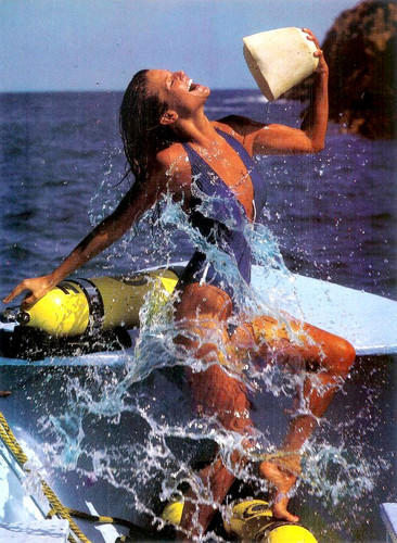 Christie Brinkley wallpaper possibly with a water, a raft, and a kayak entitled miscellaneous swimsuit pics