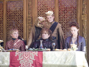tyrion with sansa, joffrey and tommen