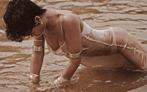 Rihanna wallpaper probably with a bather and a bikini called  Rihanna for Vogue Brasil 2014