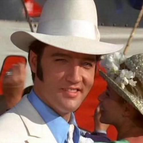 "Elvis Presley Hintergrund containing a snap brim hat, a campaign hat, and a fedora entitled 1969 Film, ""The Trouble With Girls"""