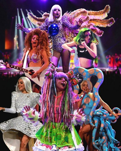 Lady Gaga wallpaper titled All 6 wigs from my new tour! #blond #Green #curly #white #bob #RainbowDreads Lady Gaga's #artRAVE!