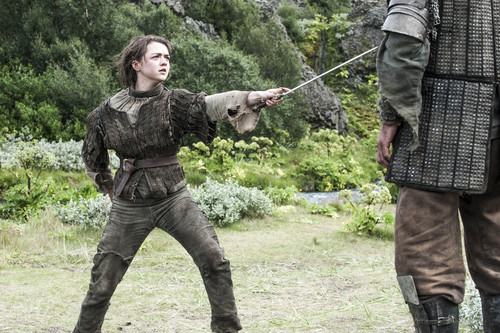 Arya Stark wallpaper possibly containing a green beret and a rifleman entitled Arya Stark and Sandor Clegane