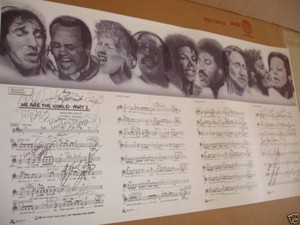 "Autographed Sheet muziek Of ""We Are The World"""