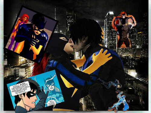 Young Justice Hintergrund with Anime titled Batgirl and Nightwing