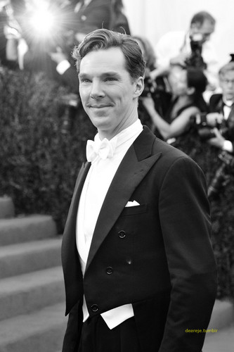 Benedict Cumberbatch wolpeyper with a business suit entitled Benedict at the Met Gala - 2014