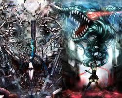 Black Shooter and Hatsune Miku