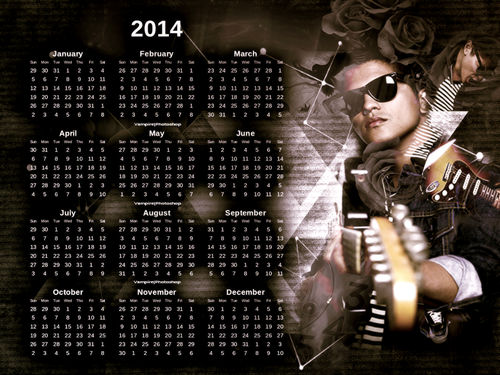브루노 마스 바탕화면 with a cellar titled Bruno Mars Calendar